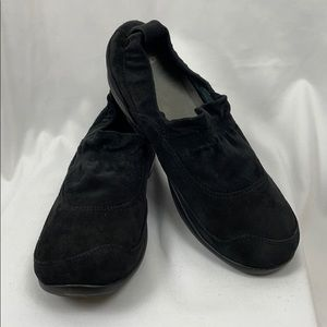 Dansko Black Suede Leather Slip On Shoes, Size 41